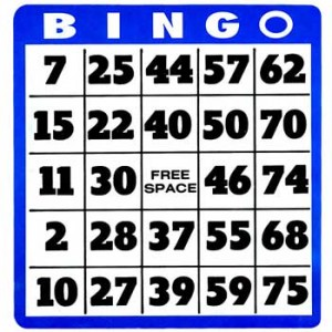 Square Bingo Card (75 Ball Bingo Card)